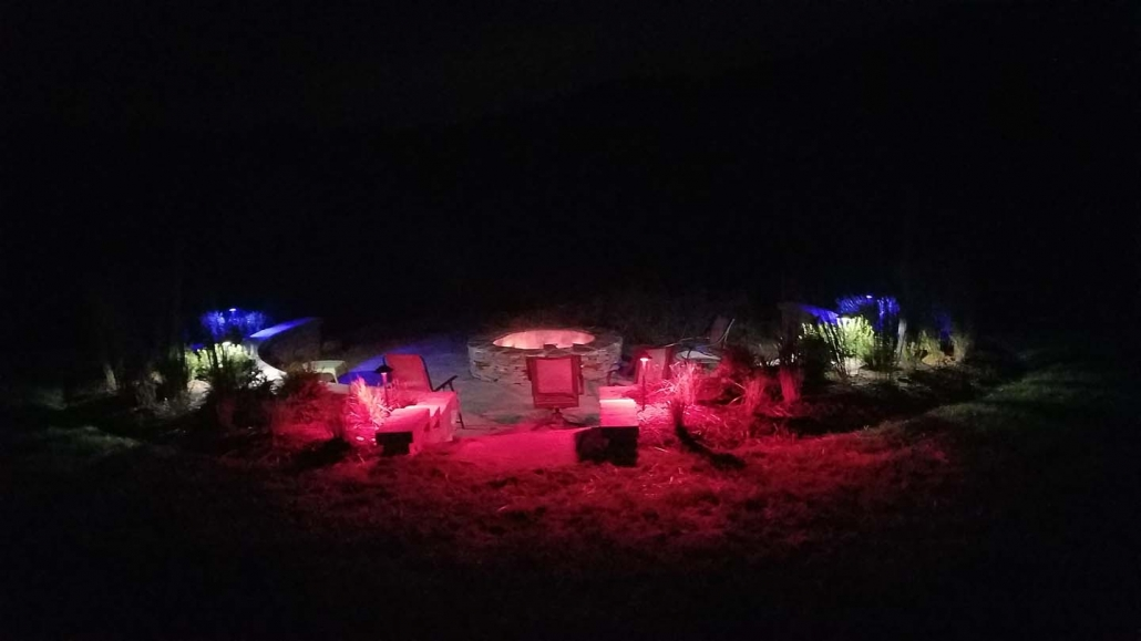 Lighting and Fire Pit Hardscape with Paver Patios in Annapolis