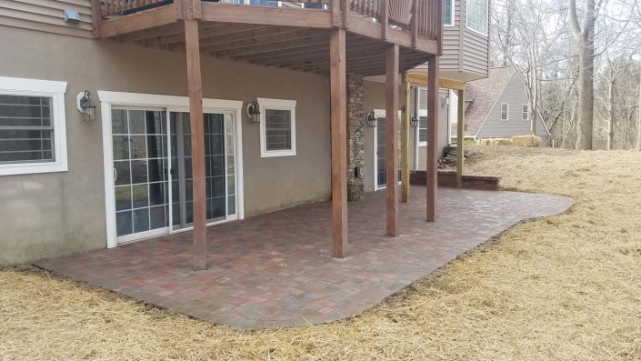 Backyard landscaping with a paver patio in Annapolis