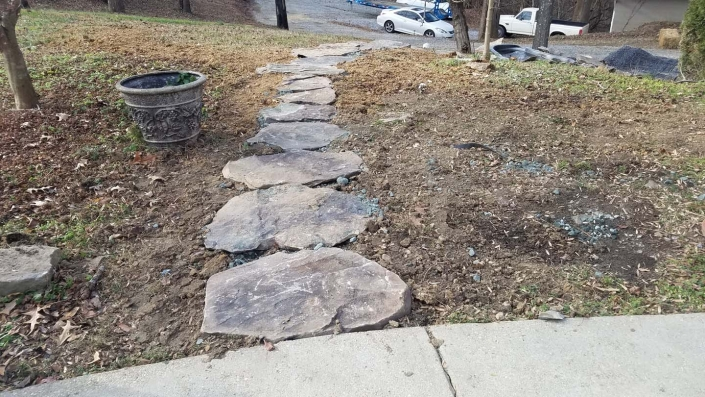 Stone sidewalk pavers in Annapolis